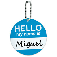 Miguel Hello My Name Is Round ID Card Luggage Tag