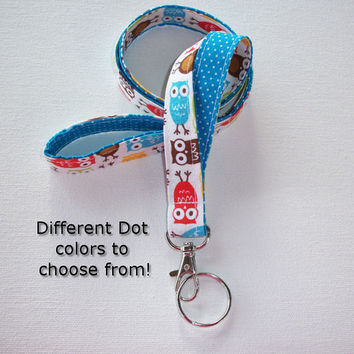 Lanyard  ID Badge Holder - Lobster clasp and key ring - design your own - Urban owls with blue pin dots -  two toned double sided