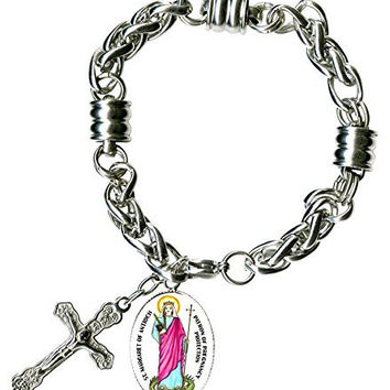 "St Margaret of Antioch Saint of Childbirth Charm & Cross Stainless Steel 7"" to 8"" Bracelet"