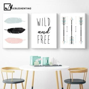 Feather Arrow Cartoon Wall Art Canvas Poster Nordic Nursery Prints Abstract Painting Picture Children Room Decoration Home Decor