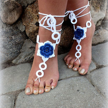 Crochet Blue Sunflower, Sexy Anklet for Barefoot Nude Sandals