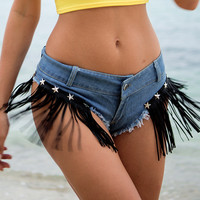 Women Low Waist Denim Shorts Tassels Hot Booty Micro Short Beach Club Summer Button Fashion Trendy Cool Frayed Sexy New