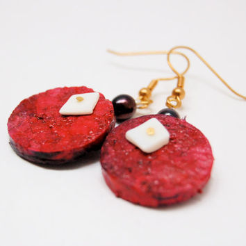 Burgundy Wine Cork Earrings