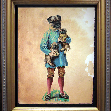 Pug Family - Vintage Collage Art Print on Tea Stained Paper - Vintage Art Print - Vintage Paper