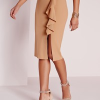 Missguided - Ruffle Detail Scuba Midi Skirt Camel