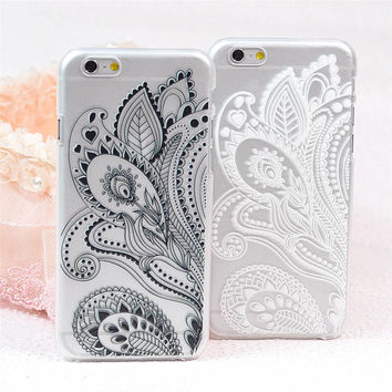 Spread Floral lace black and white pc plascit funda phone cases cover backcover for apple iphone 5 5s 6 6plus