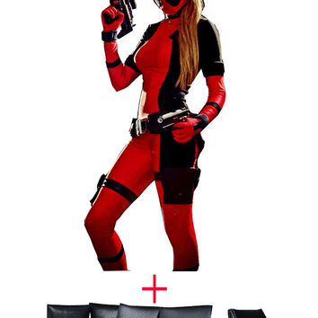 Black and Red Lady Deadpool Spandex Bodysuit and Belt Halloween Costumes for Woman