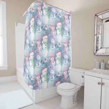 Cute Colorful Funny Winter Season Snowman Pattern Shower Curtain