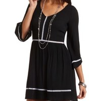 Crochet Trim Bell Sleeve Skater Dress by Charlotte Russe - Black