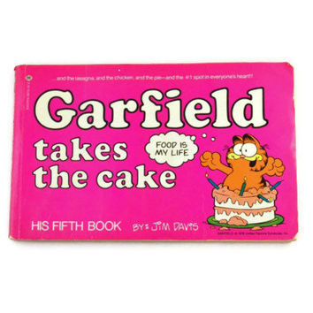 Vintage 1982 Garfield Takes The Cake His Fifth Book By Jim Davis, Garfield Collectible Comic Book, Garfield Classics