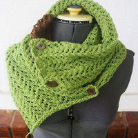 Boho Lace Knit cowl / scarf brown and green