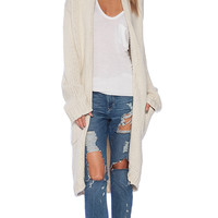 KNITZ by For Love & Lemons Holidaze Cardigan in Beige