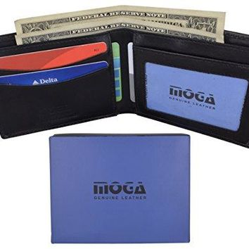 Men's Slim Bifold Wallet Genuine Leather Thin Wallet for Men With ID Window by Moga