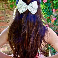 Silver Sparkly Bow Hair Clip Headpiece from LullaBellz