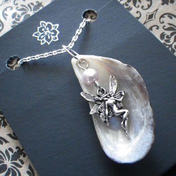 Sea Fairy- Mussel- Clam- Shell- Pearl- Pink- Cream- White- Silver- Necklace- Pacific Northwest- Coast- Beach- Ocean- Souvenir- Gift
