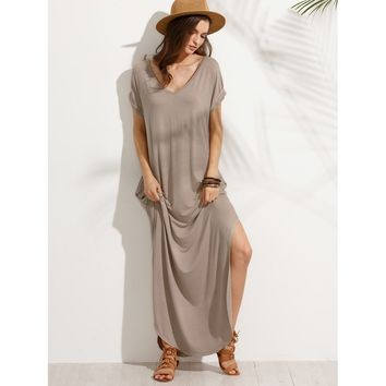 Rolled Sleeve Pocket Split Side Floor Length Dress