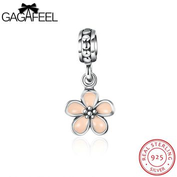 GAGAFEEL Charms 925 Sterling Silver Jewelry Pink Flower Charm Cherry blossoms Pendant Beads Fit Bracelet Chain Women's Gifts