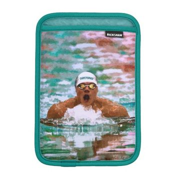 Swimmer Athlete In Pool With Water Drops Painting iPad Mini Sleeve