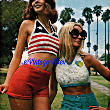 3 Patterns = 2 Crochet Halter Tops and 1 KNIT Hot Pants Instant Download 70s Vintage sun tank eco fashion bohemian hippie sexy summer USA