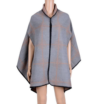 Hot Sale Plaid and Hazy Polka Dot Pattern Oversized Shawl Wrap Blanket Poncho Cape For Women