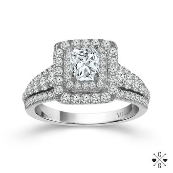 14K White Gold 1.16cttw Radiant Cut Double Halo Diamond Engagement Ring
