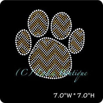 Gold  chevron paw print iron on hot fix rhinestone transfers - DIY chevron paw mascot school team logo -heat - bling