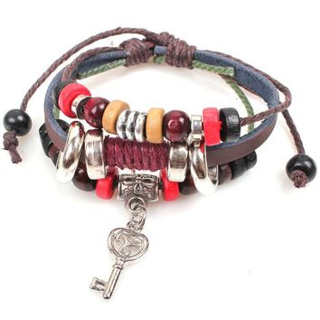 New Fashion Key Braided Wooden Bead Wrist Bracelet Leather Jewelry