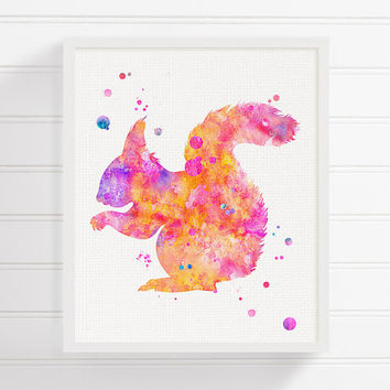 Watercolor Squirrel, Squirrel Art Print, Squirrel Painting, Woodland Animals, Woodland Nursery Decor, Forest Animals, Baby Girl Nursery