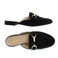 Garson Black By Paprika, Women's Gold Tone Horsebit Hardware Backless Slip On Loafer