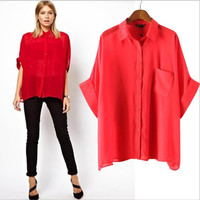 Red Cuffed-Sleeve Collared Buttons Chiffon Blouse