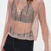 Missguided - Rose Gold Distressed Flared Sleeve Metallic Knitted Sweater