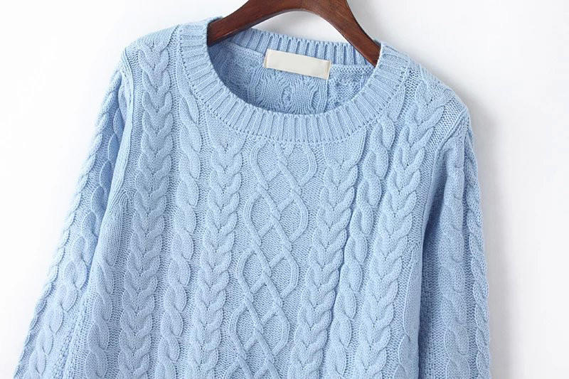 79fb279cc56 Light Blue Cable Knit Sweater