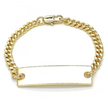 Gold Layered ID Bracelet, Golden Tone