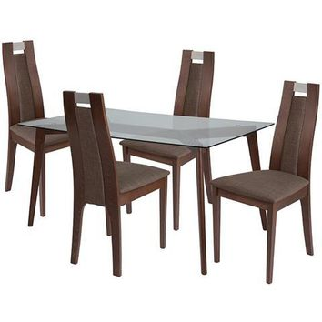 Patterson 5 Piece Walnut Wood Dining Table Set with Glass Top and Curved Slat Wood Dining Chairs - Padded Seats