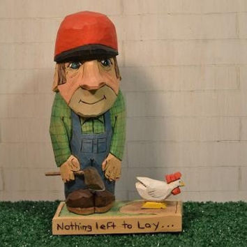 Chicken Farmer with ax and chicken wood carving scene hand carved by MADellinger Wood Carving BHS # 1