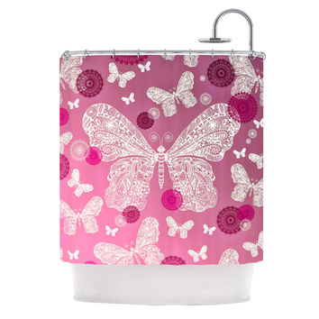 "Monika Strigel ""Butterfly Dreams Pink Ombre"" Magenta Shower Curtain"