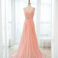 One shoulder chiffon long prom dress from fashionforgirls