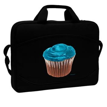 """Giant Bright Turquoise Cupcake 15"""" Dark Laptop / Tablet Case Bag by TooLoud"""