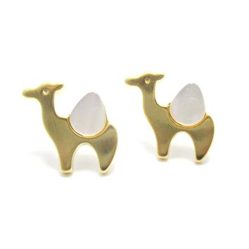 Camel Animal Themed Stud Earrings in Gold with Pearl Detail | DOTOLY