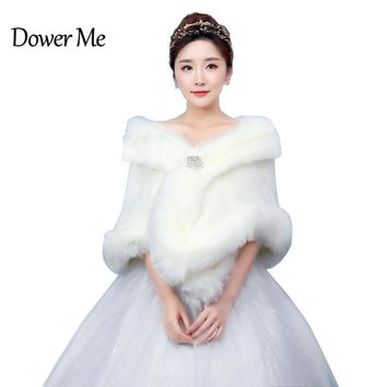 In Stock Wedding Accessory Faux Fur Black White Custom Made Bridal Coat Wedding Bolero Stoles Jacket Shrug Wraps LF10