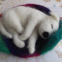 Felted Sleeping Staffordshire Bull Terrier White Puppy Dog Handmade Sale Includes Donation to Dog Rescue UK
