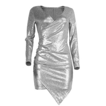 mokingtop Sequins Bodycon Dress Sexy Deep V-Neck Long Sleeve Club Dress Irregular Hip Mini Dress Vestido De Festa#212