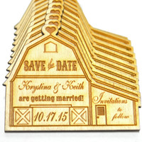 Personalized Rustic Country Wooden Barn Wedding Save the Date Magnet, Custom Engraved Invitation