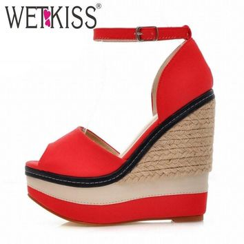 WETKISS Sexy Open toe Weave Patch Color Wedges Gladiator Sandals Women High Heels Plat