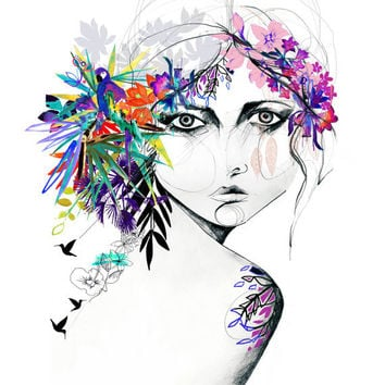 Exotic Girl // FASHION ILLUSTRATION // A2 Giclée print