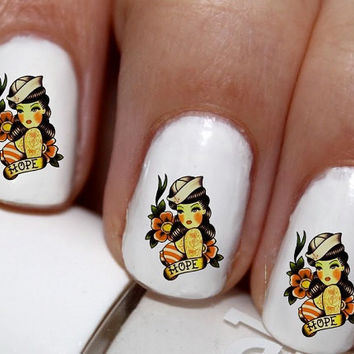 20 pc  Pin Up Girl Navy Girl 50s Pin Up Girl Pinup Girl Ancohr Love Nail Art Nail Decals #cg3016na