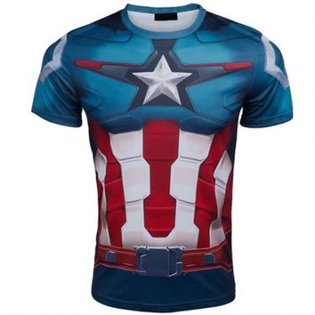 Marvel Super Heroes top short sleeve fashion men fitness t shirt round neck print 21 styles  t-shirt men