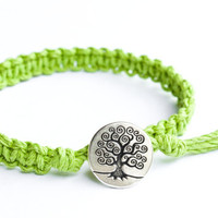 Lime Green Hemp Bracelet Tree Button Friendship