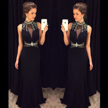 High Neck Prom Dress,Black Prom Dresses,Long Evening Dresses