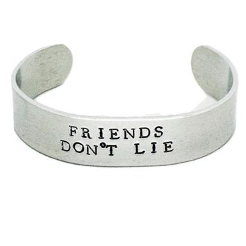 Stranger Things Hand Stamped Friends Don't Lie Cuff Bracelet